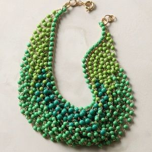 Anthropologie Green Ombré Swag Collar Necklace